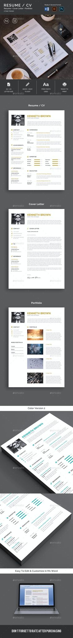 Resume CV by iDoodle | GraphicRiver Resume Layout, One Page Resume, Resume Cv, Cv Design, Resume Design, Graphic Design, Best Resume Template, Cv Template, Stationery Templates