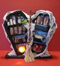 Dollhouse Miniature, Halloween, OOAK, Coffin Conversion, Mystic Kingdom Minis #MysticKingdomMinis