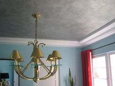 my faux-silver leaf dining room ceiling