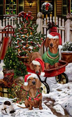 """New for 2014! Dachshund Christmas Holiday Cards are 8 1/2"""" x 5 1/2"""" and come in packages of 12 cards. One design per package. All designs include envelopes, your personal message, and choice of greeting. Select the inside greeting of your choice from the menu below.Add your custom personal message to the Comments box during checkout."""