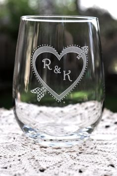 Stemless Wine Glass Heart and Arrow with by DesignImageryEngrav