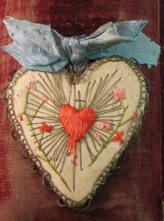 antique french silk embroidered sacred heart detente