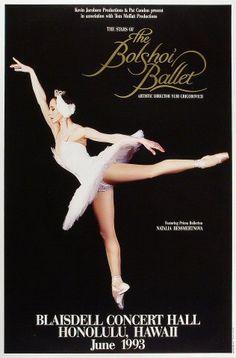 The Bolshoi Ballet Vintage Concert Poster from Blaisdell Arena (Honolulu, HI), Jun 1993 Vintage Ballet, Vintage Circus, Contemporary Dance, Modern Dance, Ballet Posters, Vintage Concert Posters, 3d Chalk Art, Ballet Companies, Bolshoi Ballet
