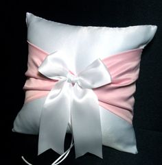 Use coupon code PINITFREESHIP for FREE shipping!  White or Ivory  Wedding Ring Bearer Pillow Bubblegum candy pink Accent by Jessicasdaydream