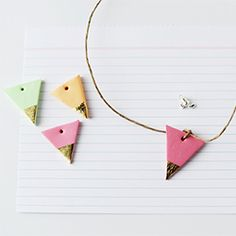 Make this pretty gold leaf necklace using polymer clay (so easy) by Penelope + Pip.