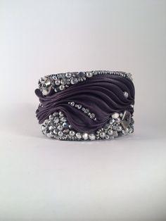 OOAK -Shibori silk -cuff -seed beads -Swarovski -bead embroidery -jewellery -accessory by SarahDekkerDesigns on Etsy https://www.etsy.com/listing/222497453/ooak-shibori-silk-cuff-seed-beads