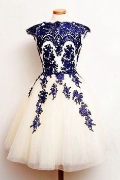 Vintage prom dress, homecoming dress, ivory organza + blue lace appliques short prom dress for teens