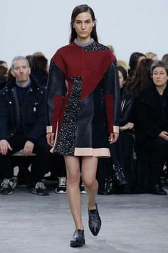 Burgundies, pinks and shagreen inspired patches in a slightly rounded silhouette of the classic crew neck circle skirted dress.   Proenza Schouler Fall 2014 Ready-to-Wear Collection Slideshow on Style.com