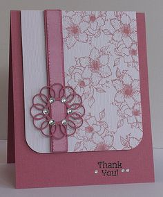 FlourishesSS138 Butterflies & Blossoms; Versa Magic Malted Mauve; Memory Box die; Michael's ribbon  Not usually home, but babying my back for a day before we go camping & saw the noon challenge flourishes.org/blog/ , so here's my second card with my first Flourishes stamp set.  My 3 layers are separated by foam tape--card base, stamped panel, ribbon ring w ribbon.  I dabbed a little extra ink in the flower centers since I didn't want to use glitter & thought a little definition was needed…