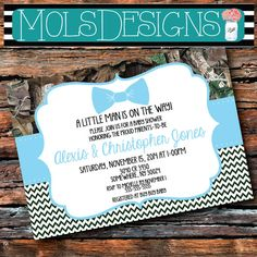 Any Color CAMO BOW TIE Little Man Baby Shower Chevron Blue Pink Buck Boy Girl Camouflage First Second Third 1st Birthday Couples Invitation