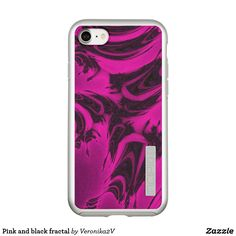 Pink and black fractal incipio DualPro shine iPhone 7 case, photo, photography, artwork, buy, sale, gift ideas, pink, black, spots, fractal, magenta, bright, purple, colorful, dark, abstract,  skin, skins, case, cases, gadget, gadgets, decor, design,  apple, phone, phones,  iphone