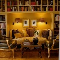 Fern Santini's Living Room..... reading nook inside built in library shelves for a couch....cozy