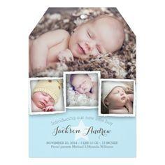 Modern Baby Sweet Baby Boy Birth Announcement Invitation Card