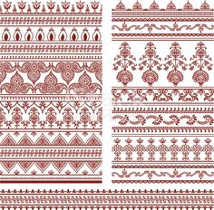 A collection of ornately detailed border designs inspired by the art of mehndi .