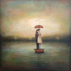 Everything about this is lovely. The hug. The umbrellas. The water. The colors. The trees.    http://www.duyhuynh.com/images/2082963864nevermind-the-clouds-2013_450px.jpg