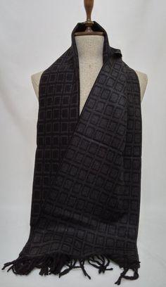 Double faced Scarf, Black and Gray Wool Men's Scarf, Black and Gray Scarf, Chashmere Men's Scarf - SC137 #handmadeatamazon #nazodesign