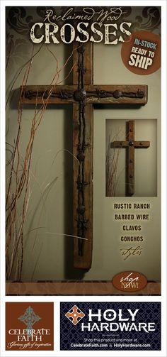 Wooden Crosses : Barb Wire + Clavos