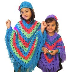 ✓ Easy Crochet Hippy Ponchos for Little Girls ... can be made in all sizes, baby to adult.