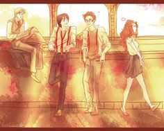 Remus, Sirius, James and Lily. Gaaah Im dying. I lovr this so much http://gerald-pilcher.com
