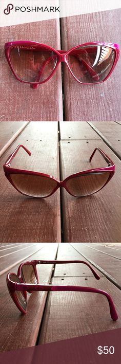 Authentic Vintage Christian Dior Glasses Authentic Christian Dior Glasses.  Excellent Condition.  Colors Red and Hot Pink. Christian Dior Accessories Glasses