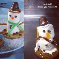Snowman cookie dessert needs some magic. #pinterestfail