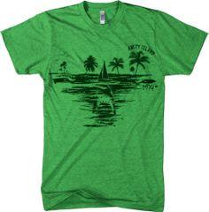 Amity Island T Shirt Cool Vintage Jaws Shark Tee M ...