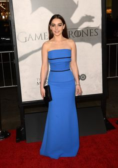 """Emilia Clarke wearing strapless blue Victoria Beckham gown at the premiere of HBO's """"Game Of Thrones"""" Season 3 at #TCLChinese Theatre on March 18, 2013 in Hollywood, California.  http://celebhotspots.com/hotspot/?hotspotid=5502&next=1"""