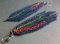 Multi Color Rocker Chic Earrings Long Beaded Edgy by CallunaMuse, $19.00