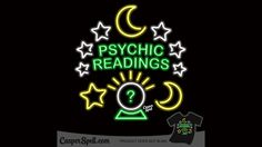 Neon Psychic Readings Sign Crystal Ball Celestial Magick Kitschy Fortune Teller Oddities Mystical Art Apparel Magic Gifts Casper Spell (www.CasperSpell.com)