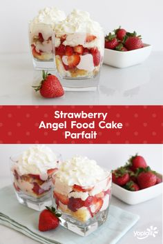 Bring on the strawberries and the whipped cream! This Strawberry Angel Food Cake Parfait has both with a cool and creamy layer of Yoplait Original Strawberry yogurt.