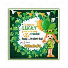 St Patrick's Day Printable Tags-Girl-Happy St Printable Party, Printable Tags, You Are My Friend, Diy Party, Holidays And Events, St Patricks Day, Party Supplies, Banner, Invitations