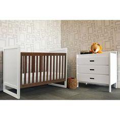 Baby Mod Modena Mod 2-Tone 3-in-1 Fixed-Side Convertible Crib, Walnut/White - Walmart.com