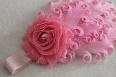 Baby Headband Photo Prop Pink Feather's and Chiffon by JennCannon, $14.99