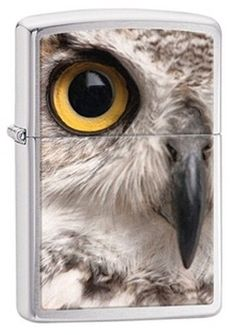 Zippo 28650 Owl Face Brushed Chrome Classic Lighter w/Gift Box