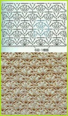 """♥A """"crochet stich, perfect for mermaid tail!"""", """"Another gorgeous crochet stich to try."""", """"crochet - chart for fan stitch"""", """"lots Crochet Instructions, Crochet Diagram, Crochet Chart, Love Crochet, Crochet Motif, Beautiful Crochet, Diy Crochet, Crochet Solo, Patron Crochet"""