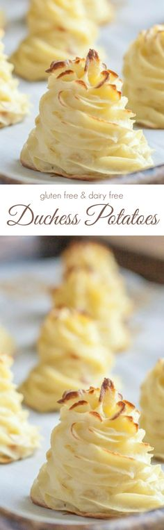 Duchess Potatoes Absolutely gorgeous Duchess Potatoes that are so unbelievably easy to make! Gf Recipes, Dairy Free Recipes, Side Dish Recipes, Potato Recipes, Vegetable Recipes, Vegetarian Recipes, Cooking Recipes, Healthy Recipes, Side Dishes