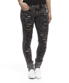 Love this Charcoal Distressed Skinny Jeans - Women & Plus by Blue Connections on #zulily! #zulilyfinds