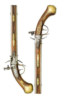 A set of swivel barrel double barrel flintlock pistols originating from Germany. Crafted by Georg Peter Fischer, circa 1720.