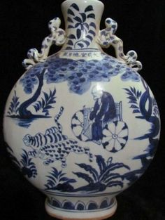15th century Ming Dynasty Chinese blue and white porcelain vase of an old man