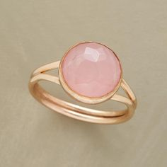 FILLED WITH PROMISE RING--Faceted rose quartz represents a rosebud filled with promise on the brink of full bloom. Split 14kt goldfilled band. A Sundance exclusive in whole sizes 5 to 9.