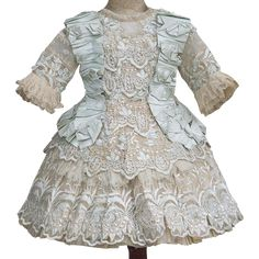 Splendid Antique French Aqua Silk & Gauze Dress for Jumeau Bru Steiner Eden Bebe or other french Doll about 19-20' tall