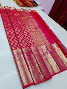 Red Saree Wedding, Wedding Saree Blouse, Wedding Silk Saree, Bridal Sarees South Indian, Indian Silk Sarees, Indian Beauty Saree, Banarsi Saree, Silk Saree Kanchipuram, Latest Silk Sarees