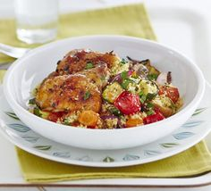 5 a day couscous Rebecca Roberts serves roasted courgette, carrots, red onion, tomatoes and mushrooms with couscous and chicken in this recipe for one Bbc Good Food Recipes, Dinner Recipes, Cooking Recipes, Healthy Recipes, Healthy Dishes, Clean Recipes, Healthy Meals, Healthy Food, Baked Chicken