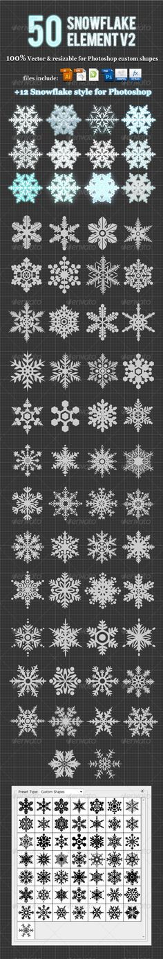 50Snowflake Element v2 Photoshop Custom Shapes #GraphicRiver DESCRIPTION 50 Snowflake Element v2 made with 100% vector & photoshop custom shapes that the elements are great for use any design project
