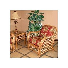 Wicker Armchair in Cinnamon (Yvonne Aloe (All Weather)). Fabric: Yvonne Aloe (All Weather). Solid Wicker Construction. Cinnamon Finish. For indoor, or covered patio use only. Includes cushions.