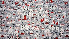 Cotton Dog Fabric by Timeless Treasures with Gray Background and White Red Black Dogs (Affiliate Link)