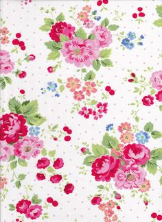 Pam Kitty Picnic Floral with Cherries by DonnasLavenderNest, $5.25