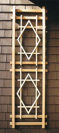 """The Double Diamond Trellis A well-proportioned, classical wall trellis with a 9/16"""" x 3/4"""" sturdy lattice. The trellis provides an excellent modular solution when used in multiples. http://www.trellisstructures.com/trellises/double-diamond-trellis.html"""