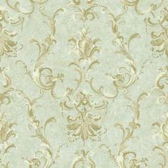Baton Rouge NV6031 Painterly Ornamental Damask Wallpaper