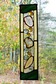 Natural Color Agate Stained Glass Art Panel by miloglass on Etsy, $30.00